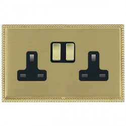 Hamilton Linea-Perlina CFX Polished Brass/Satin Brass 2 Gang 13A Switched Socket - Double Pole with Black Insert