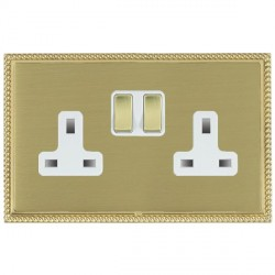 Hamilton Linea-Perlina CFX Polished Brass/Satin Brass 2 Gang 13A Switched Socket - Double Pole with White Insert