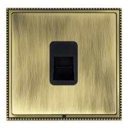 Hamilton Linea-Perlina CFX Antique Brass/Antique Brass 1 Gang Telephone Master with Black Insert