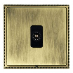 Hamilton Linea-Perlina CFX Antique Brass/Antique Brass 1 Gang Non Isolated Television 1in/1out with Black Insert