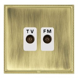Hamilton Linea-Perlina CFX Polished Brass/Antique Brass 2 Gang Isolated Television/FM 1in/2out with White Insert