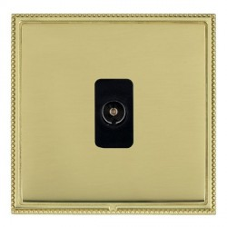 Hamilton Linea-Perlina CFX Polished Brass/Polished Brass 1 Gang Non Isolated Television 1in/1out with Black Insert