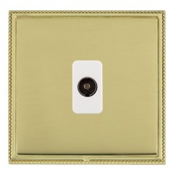 Hamilton Linea-Perlina CFX Polished Brass/Polished Brass 1 Gang Non Isolated Television 1in/1out with White Insert