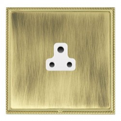 Hamilton Linea-Perlina CFX Polished Brass/Antique Brass 1 Gang 2A Unswitched Socket with White Insert