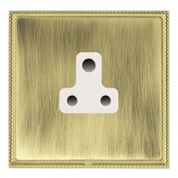 Hamilton Linea-Perlina CFX Polished Brass/Antique Brass 1 Gang 5A Unswitched Socket with White Insert