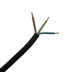 10 Metre Length of 1.00mm 3 Core Black Heat Resistant Cable