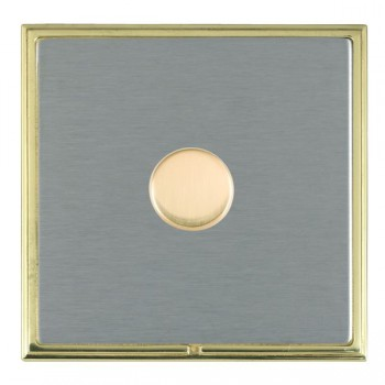 Hamilton Linea-Scala CFX Polished Brass/Satin Steel Push On/Off Dimmer 1 Gang 2 way Inductive with Polished Brass Insert