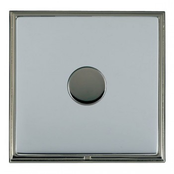 Hamilton Linea-Scala CFX Black Nickel/Bright Steel Push On/Off Dimmer 1 Gang 2 way with Black Nickel Insert