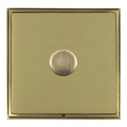 Hamilton Linea-Scala CFX Antique Brass/Satin Brass Push On/Off Dimmer 1 Gang 2 way with Antique Brass Insert
