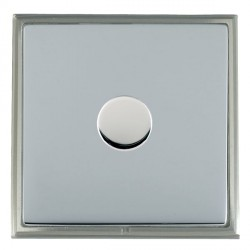 Hamilton Linea-Scala CFX Satin Nickel/Bright Steel Push On/Off Dimmer 1 Gang 2 way with Satin Steel Inser...