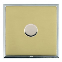 Hamilton Linea-Scala CFX Bright Chrome/Polished Brass Push On/Off Dimmer 1 Gang Multi-way Trailing Edge with Bright Chrome Insert