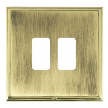 Hamilton Linea-Scala CFX Polished Brass/Antique Brass 2 Gang Grid Fix Aperture Plate with Grid