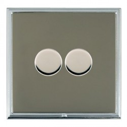 Hamilton Linea-Scala CFX Bright Chrome/Black Nickel Push On/Off Dimmer 2 Gang 2 way with Bright Chrome In...