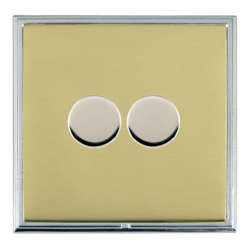 Hamilton Linea-Scala CFX Bright Chrome/Polished Brass Push On/Off Dimmer 2 Gang 2 way with Bright Chrome Insert