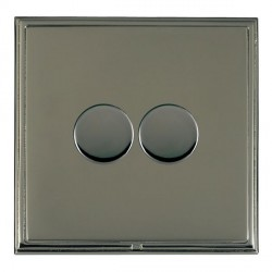 Hamilton Linea-Scala CFX Black Nickel/Black Nickel Push On/Off Dimmer 2 Gang 2 way with Black Nickel Inse...