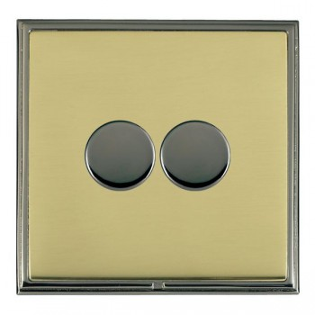 Hamilton Linea-Scala CFX Black Nickel/Polished Brass Push On/Off Dimmer 2 Gang 2 way with Black Nickel Insert