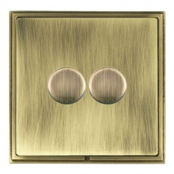 Hamilton Linea-Scala CFX Antique Brass/Antique Brass Push On/Off Dimmer 2 Gang Multi-way Trailing Edge wi...