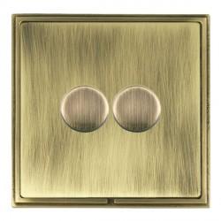 Hamilton Linea-Scala CFX Antique Brass/Antique Brass Push On/Off Dimmer 2 Gang Multi-way Trailing Edge wi...