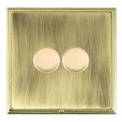 Hamilton Linea-Scala CFX Polished Brass/Antique Brass Push On/Off Dimmer 2 Gang Multi-way Trailing Edge w...