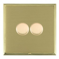 Hamilton Linea-Scala CFX Polished Brass/Satin Brass Push On/Off Dimmer 2 Gang Multi-way Trailing Edge with Polished Brass Insert