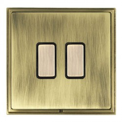 Hamilton Linea-Scala CFX Antique Brass/Antique Brass 2 Gang Multi way Touch Master Trailing Edge with Bla...