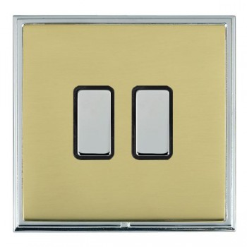 Hamilton Linea-Scala CFX Bright Chrome/Polished Brass 2 Gang Multi way Touch Master Trailing Edge with Black Insert