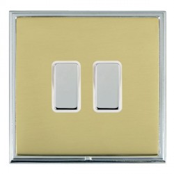 Hamilton Linea-Scala CFX Bright Chrome/Polished Brass 2 Gang Multi way Touch Master Trailing Edge with White Insert