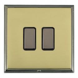 Hamilton Linea-Scala CFX Black Nickel/Polished Brass 2 Gang Multi way Touch Master Trailing Edge with Bla...