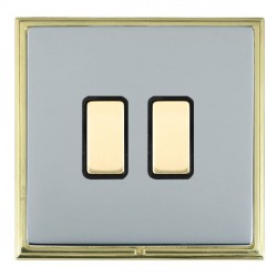 Hamilton Linea-Scala CFX Polished Brass/Bright Steel 2 Gang Multi way Touch Master Trailing Edge with Black Insert