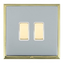 Hamilton Linea-Scala CFX Polished Brass/Bright Steel 2 Gang Multi way Touch Master Trailing Edge with Whi...