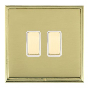 Hamilton Linea-Scala CFX Polished Brass/Polished Brass 2 Gang Multi way Touch Master Trailing Edge with White Insert