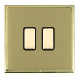Hamilton Linea-Scala CFX Polished Brass/Satin Brass 2 Gang Multi way Touch Master Trailing Edge with Blac...