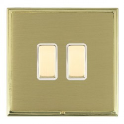 Hamilton Linea-Scala CFX Polished Brass/Satin Brass 2 Gang Multi way Touch Master Trailing Edge with Whit...