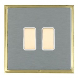 Hamilton Linea-Scala CFX Satin Brass/Satin Steel 2 Gang Multi way Touch Master Trailing Edge with White Insert