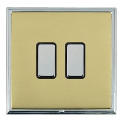 Hamilton Linea-Scala CFX Bright Chrome/Polished Brass 2 Gang Multi way Touch Slave Trailing Edge with Black Insert