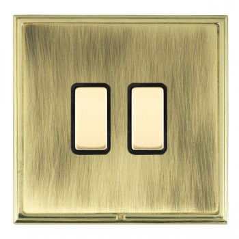 Hamilton Linea-Scala CFX Polished Brass/Antique Brass 2 Gang Multi way Touch Slave Trailing Edge with Black Insert