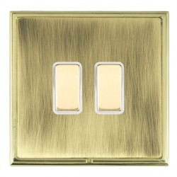 Hamilton Linea-Scala CFX Polished Brass/Antique Brass 2 Gang Multi way Touch Slave Trailing Edge with White Insert
