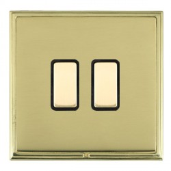 Hamilton Linea-Scala CFX Polished Brass/Polished Brass 2 Gang Multi way Touch Slave Trailing Edge with Black Insert