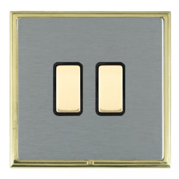 Hamilton Linea-Scala CFX Polished Brass/Satin Steel 2 Gang Multi way Touch Slave Trailing Edge with Black Insert