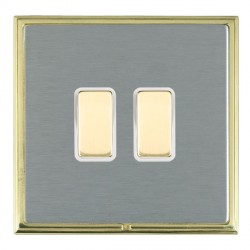 Hamilton Linea-Scala CFX Polished Brass/Satin Steel 2 Gang Multi way Touch Slave Trailing Edge with White Insert