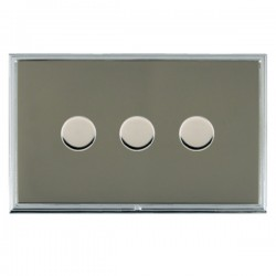 Hamilton Linea-Scala CFX Bright Chrome/Black Nickel Push On/Off Dimmer 3 Gang 2 way with Bright Chrome In...