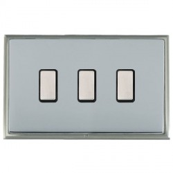 Hamilton Linea-Scala CFX Satin Nickel/Bright Steel 3 Gang Multi way Touch Master Trailing Edge with Black...