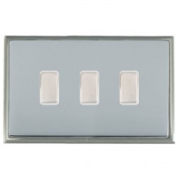 Hamilton Linea-Scala CFX Satin Nickel/Bright Steel 3 Gang Multi way Touch Slave Trailing Edge with White ...