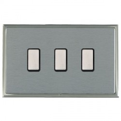 Hamilton Linea-Scala CFX Satin Nickel/Satin Steel 3 Gang Multi way Touch Slave Trailing Edge with Black I...