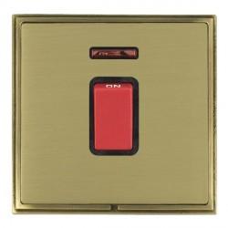 Hamilton Linea-Scala CFX Antique Brass/Satin Brass 1 Gang 45A Double Pole Red Rocker + neon with Black In...