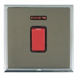 Hamilton Linea-Scala CFX Bright Chrome/Black Nickel 1 Gang 45A Double Pole Red Rocker + neon with Black I...