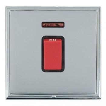 Hamilton Linea-Scala CFX Bright Chrome/Bright Steel 1 Gang 45A Double Pole Red Rocker + neon with Black Insert