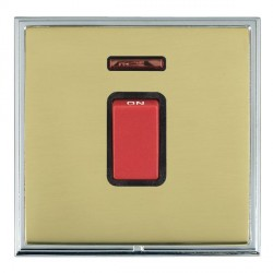 Hamilton Linea-Scala CFX Bright Chrome/Polished Brass 1 Gang 45A Double Pole Red Rocker + neon with Black...