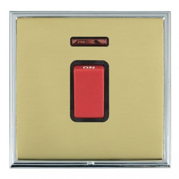 Hamilton Linea-Scala CFX Bright Chrome/Polished Brass 1 Gang 45A Double Pole Red Rocker + neon with Black Insert