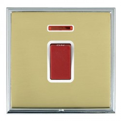 Hamilton Linea-Scala CFX Bright Chrome/Polished Brass 1 Gang 45A Double Pole Red Rocker + neon with White Insert